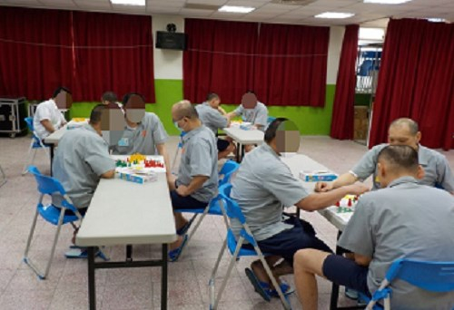 Inmates' recreational activity-Chinese checkers contest on June 12.