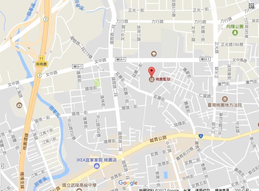法務部矯正署桃園監獄交通位置圖